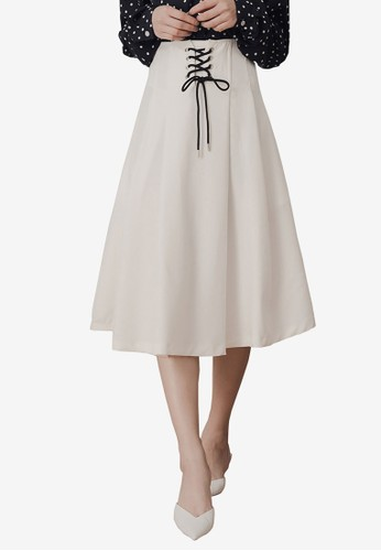 Kodz white Tie Front A-Line Midi Skirt 7F96AAADDC1163GS_1