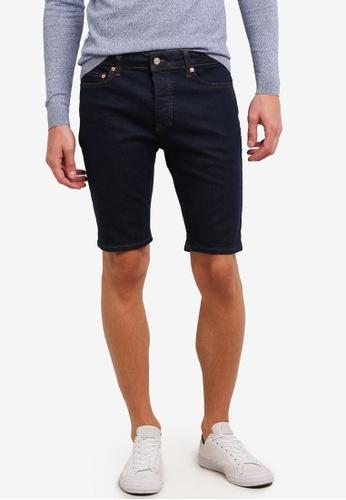 Topman 藍色 Blue Rinse Stretch Skinny Denim Shorts TO413AA0S5L1MY_1