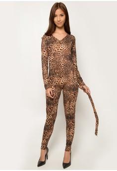 Karnival Snow Leopard Cat Suit Adult