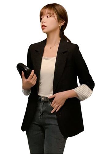 Halo black Dual Buttons Roll sleeve Blazer C45C4AACD0A2CBGS_1