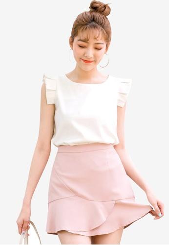 Tokichoi white Pleated Detail Sleeveless Blouse 87173AA78F2B35GS_1