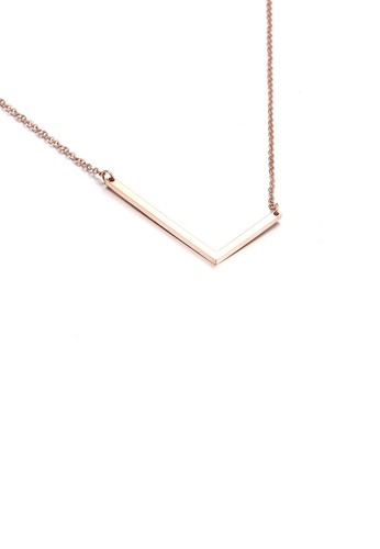 Glamorousky silver Fashion Simple Plated Rose Gold English Alphabet L 316L Stainless Steel Pendant with Necklace 63D43AC9D552B8GS_1