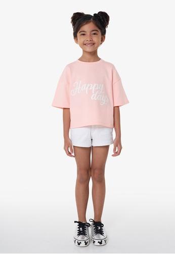 Gen Woo pink Cropped Slogan T-shirt 2135AKA6C9381FGS_1