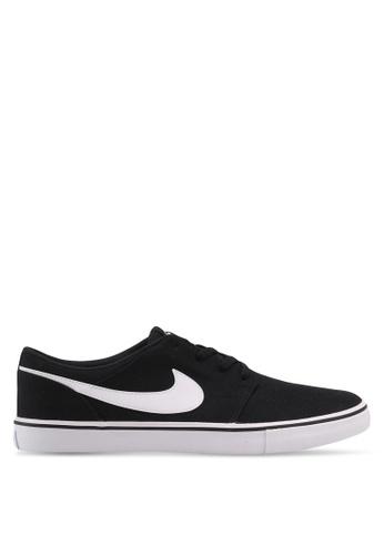 Nike black and white Men's Nike SB Solarsoft Portmore II Skateboarding Shoes NI126SH0STQYMY_1