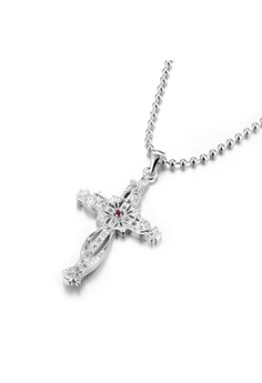 Treasure by B&D Hollow Carved Cross Pendant Zircon Inlayed Beads Necklace