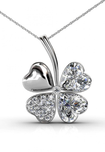 Her Jewellery silver Four Leaf Clover Pendant (White) - Made with premium grade crystals from Austria HE210AC0GFJJSG_1