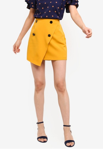 ZALORA BASICS yellow Basic Front Button Mini Skirt BCA8BAADC03DD9GS_1