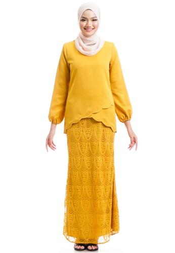 Ashura yellow Naresha Kurung With Layered Scallop 158F3AAE212225GS_1