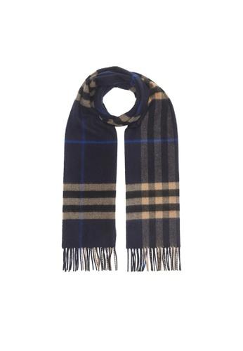 Burberry blue Burberry The Classic Check Cashmere Scarf in Indigo Mid Camel 93A76AC7C2A246GS_1