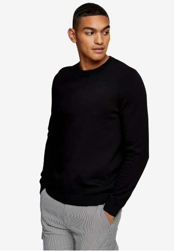 Topman black Considered Black Essential Knitted Jumper C3423AABF81798GS_1