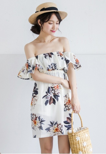 Shopsfashion white Off Shoulder Floral Printed Mini Dress  B09FFAA24EF86DGS_1