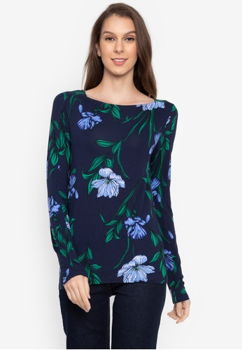 MARKS & SPENCER navy Floral Print Square Neck Long Sleeve Top D33E8AA633F694GS_1