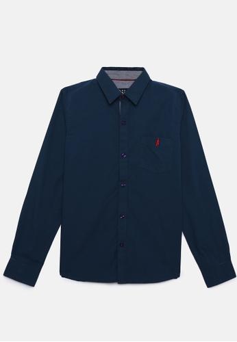 ZALZA blue Apalis 100% Organic Cotton Boys Long Sleeve Shirt - Medieval Blue 506EFKA05D46ECGS_1
