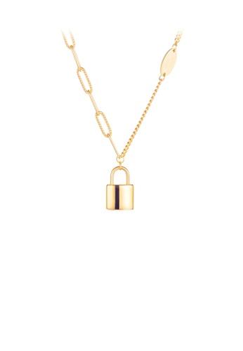 Glamorousky 銀色 簡約時尚鍍金色鎖扣316L鋼吊墜配項鏈 2883BACF872E9DGS_1