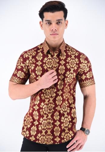 UA BOUTIQUE red Short Sleeve Shirt Batik UASSB55-031 (Maroon) DCA97AA54E3E00GS_1