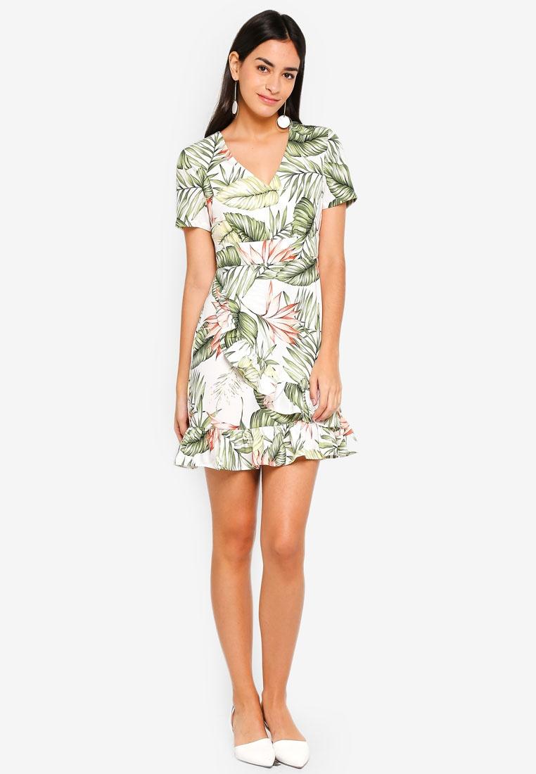 White Bottom Wrap ZALORA Dress Tropical qAgS1g7y