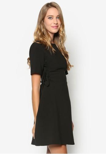 側繫帶短袖洋裝, zalora 鞋評價服飾, 服飾