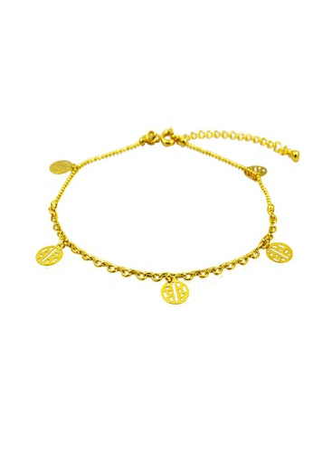 leaf gold anklet anklets goldfd bracelet ankle clover four real pearl abarbaree for women