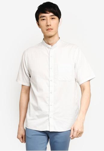 GLOBAL WORK white Grandad Collar Shirt 6AEC1AA9DB855FGS_1