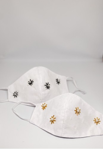 NAVVA BALI white 2 in 1 Premium Satin Polkadot White Mask with Starry Night Embellishments Reusable and Washable A2210ES5600BF2GS_1