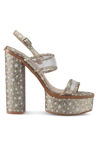 Public Desire gold Dynamite Perspex Strap Star Platform Heels PU378SH0SIPIMY_1