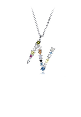 Glamorousky silver 925 Sterling Silver Fashion Simple Color English Alphabet N Pendant with Cubic Zirconia and Necklace D18F7AC344035AGS_1