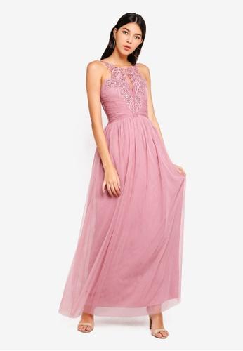 Little Mistress pink Mesh Maxi Dress D1506AA16F2BF0GS_1