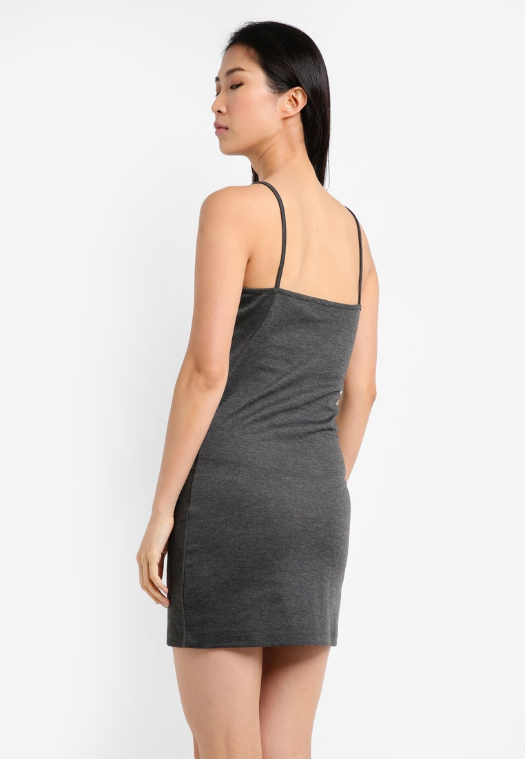 Essential ZALORA Marl Burgundy Dress Front Button Pack Grey BASICS 2 Cami Dark TUH56