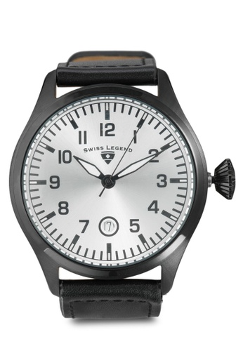 Swiss Legend black Pioneer Black Genuine Leather White Dial Black IP Case Watch SW750AC61JHMMY_1