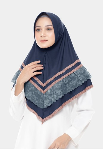 zelena navy Hijab Victoria Lace Bergo - Dark Navy 6BCB1AAA444B48GS_1