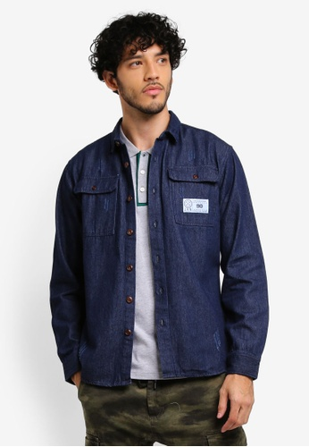 JAXON blue Patch Pockets Ripped Shirt Jacket E6AF0AAC9539DEGS_1