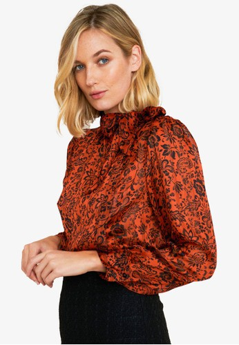 FORCAST orange and gold and brown Vivienne Tie Neck Print Blouse 90B8BAA451AE4CGS_1