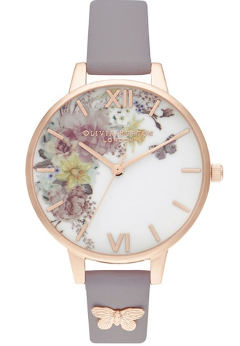 Olivia Burton blue Olivia Burton Enchanted Garden GREY LILAC LEATHER Women's Watch (OB16EG129) 7B3C4AC7196520GS_1