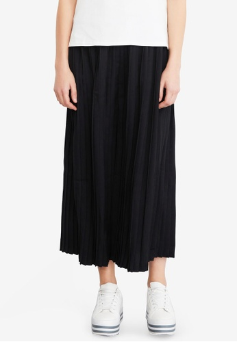 Hopeshow black Pleated Midi Skirt BFDB1AA0669676GS_1