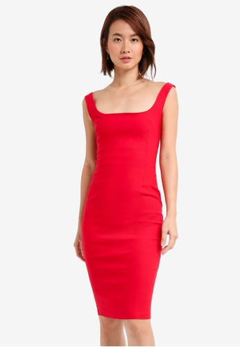 Vesper red Vesper Zada Low Neck Midi Dress D33E0AA2DB9995GS_1