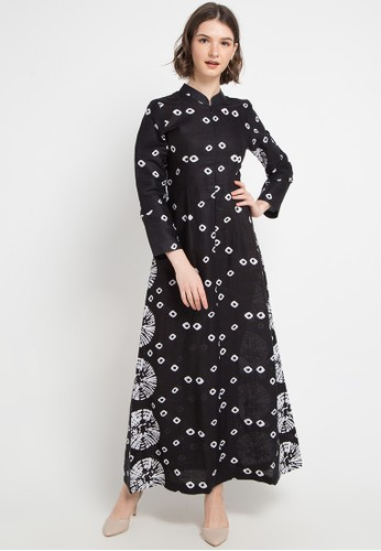 Brahmani Batik black and multi Gamis Monochrome Jumputan 6CD8AAA1EA297FGS_1