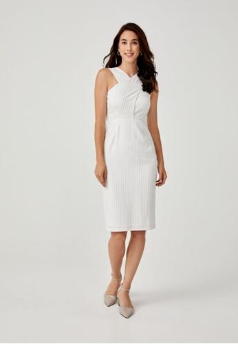 Love, Bonito white Jaela Crossover Midi Dress 7B9AAAA401DE1DGS_1
