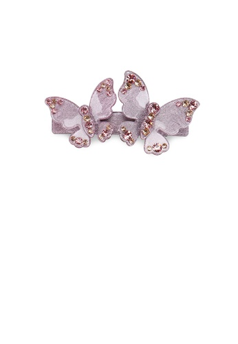Glamorousky pink Fashion and Elegant Pink Double Butterfly Hair Slide with Cubic Zirconia 6F24CAC2398911GS_1