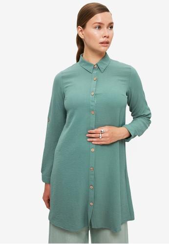 Trendyol 綠色 Collar Tunic Shirt 29C06AAAE43481GS_1