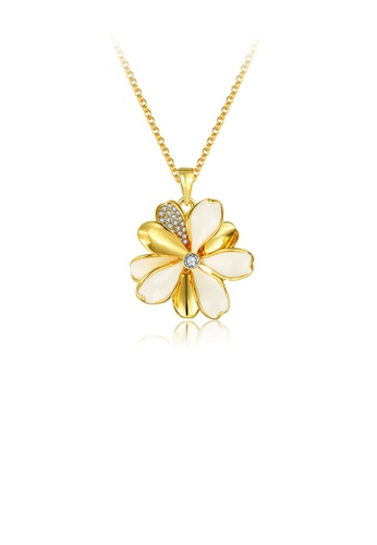 Glamorousky white Elegant and Fashion Plated Gold Flower Pendant with Austrian Element Crystal and Necklace 2D219AC0010E0EGS_1