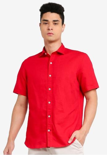 Mango Man red Regular Fit Cotton Linen-Blend Shirt 95582AA1E0AC8DGS_1