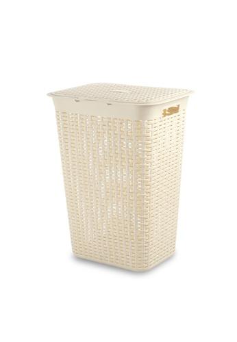 HOUZE beige HOUZE - 60L Rattan Tall Laundry Basket (Beige) F0775HLD886F06GS_1
