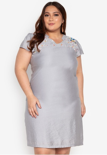 69888f6d5a Shop Divina Plus Size Dress With Embroidery Online on ZALORA Philippines