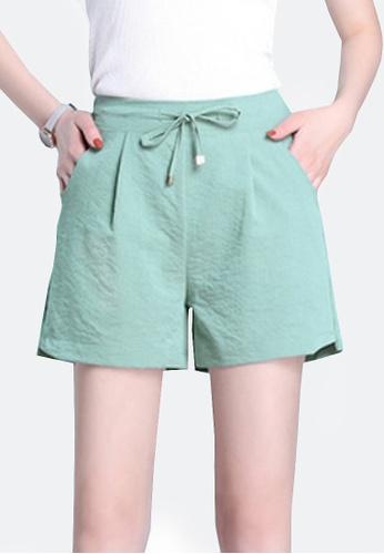 Twenty Eight Shoes green VANSA Ice Silk Cotton Linen Shorts Pant VCW-PYMSS 9CD0FAA2082A18GS_1
