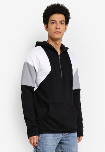 Cotton On black and grey and white Drop Shoulder Pullover Fleece Jumper Hoodie 3160BAA2FBFE67GS_1
