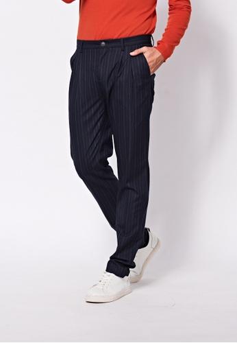 Sisley blue Striped Pants 605C5AACC8A9B3GS_1