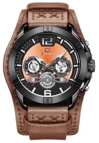 Naviforce brown Naviforce - Jam Tangan Pria - Black - Brown Leather Strap - NF9162-B F9633ACB18F507GS_1