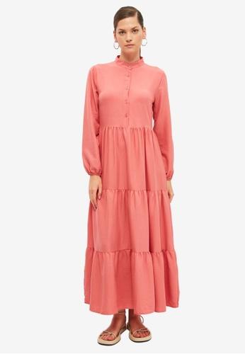 Trendyol pink Stand Collar Maxi Dress 1612CAAB997046GS_1