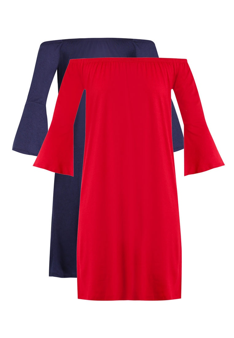 Pack Flared Dress BASICS Shoulder 2 Sleeve ZALORA Off Navy Burgundy Essential Loose With dwqg0