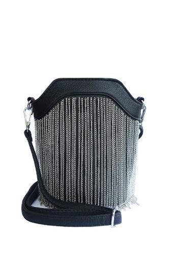 LIVLOLA black and silver Lexa Crossbody Bag in silver LI657AC0S23NMY_1